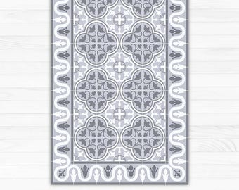 Vinyl area rug, decorative grey tiles, printed on PVC, linoleum carpet. kitchen rug, area rug, doormat - Art Mat
