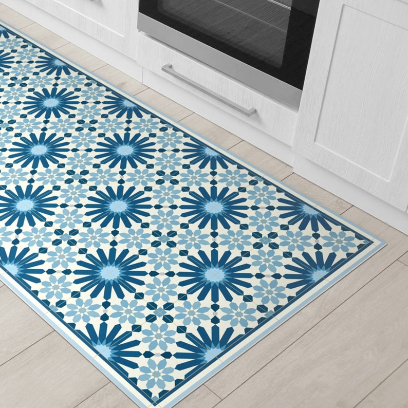 Vinyl Floor Mats >> Dark Blue Vinyl Floor Mat With Moroccan Tiles Design Printed Etsy