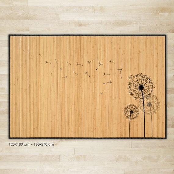 Gedruckte Bambus Teppich Lowenzahn Illustraion In Schwarz Etsy