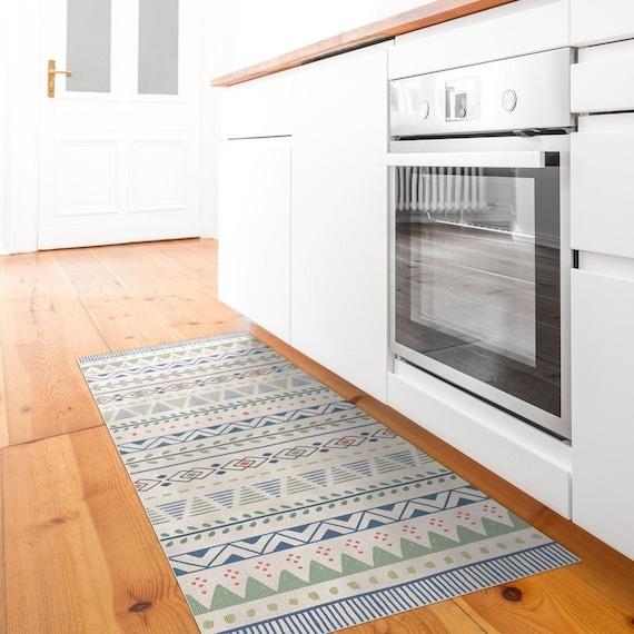 Geometric Blue And Green Kitchen Rug Vinyl Floor Mat Etsy