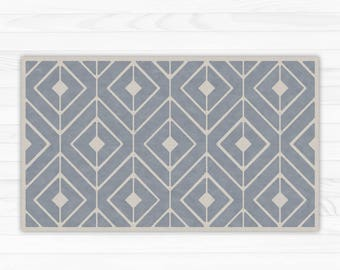 Grey linoleum rug, modern geometric area rug. Vinyl Art Mat for indoor and outdoor use. PVC doormat, kitchen rug.