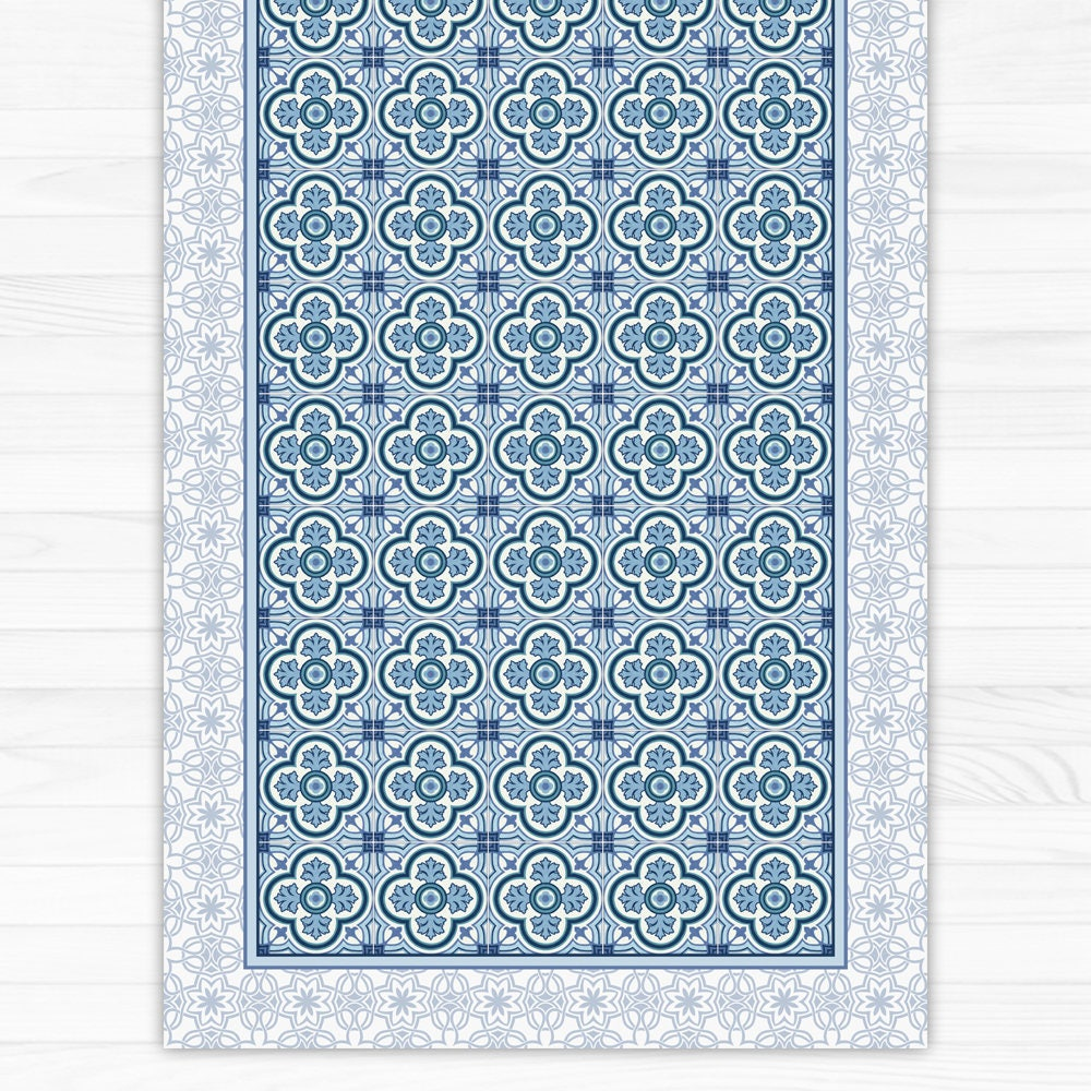 Blue Vinyl Floor Mat Area Rug Linoleum Rug Printed Pvc Etsy