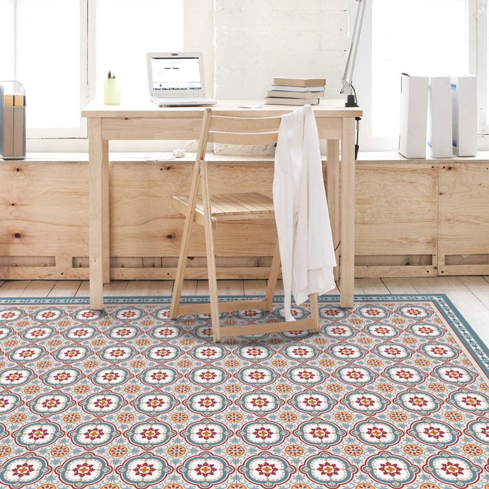 Vinyl-Bodenmatte mit dekorativen Fliesen Muster in blau. | Etsy