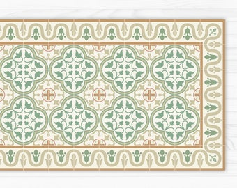 Linoleum rug printed with green tiles pattern, with decorative border. Art Mat printed PVC mats and rugs.