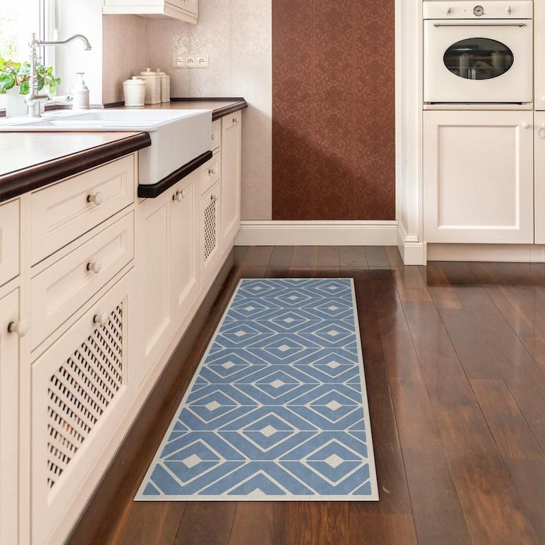 Blaue Küche Matte Vinyl Läufer gedruckt auf PVC. Läufer mit | Etsy