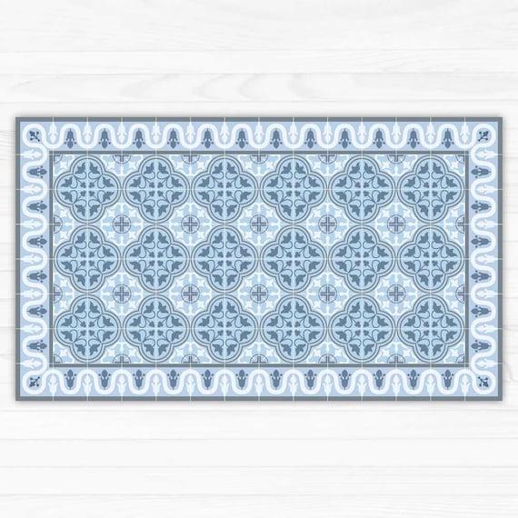 Blaue PVC-Teppich. Fliesen Muster gedruckt auf Vinyl | Etsy