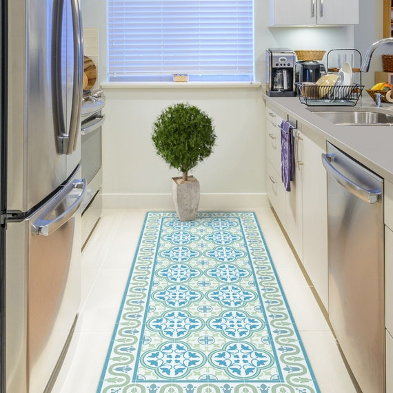 Vinyl Floor Mat With Tiles In Green And Turquoise Kitchen Etsy