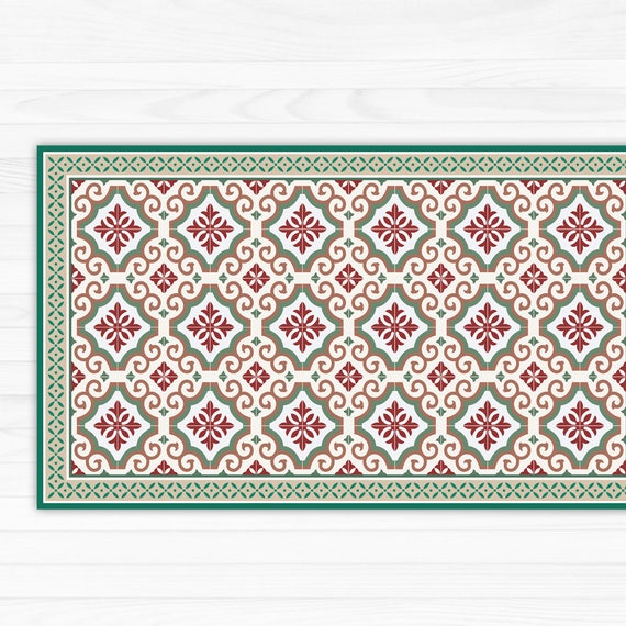 Green And Red Linoleum Rug Area Rug Printed Mat With Tiles