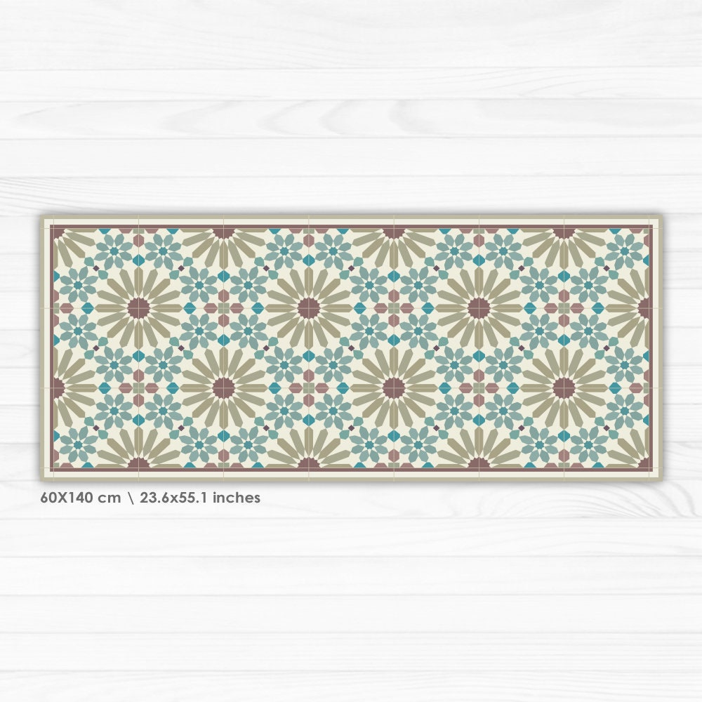 Vinyl Runner Rug With Moroccan Inspired Pattern. Vinyl