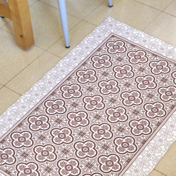 Pink Kitchen Mat Vinyl Floor Mat Linoleum Rug With Hand Etsy
