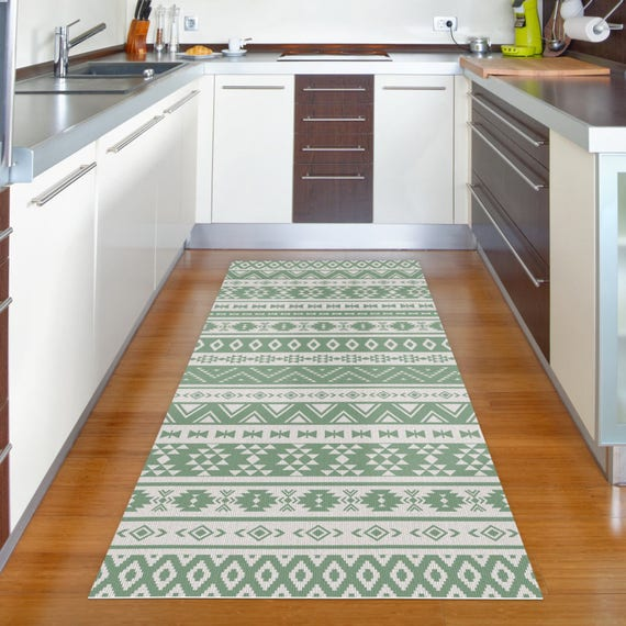 Green Runner Rug Vinyl Floor Rug With Ethnic Pattern In Green Etsy