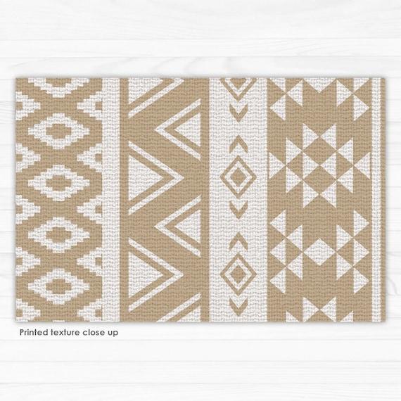 Beige Vinyl Bodenmatte mit geometrischem Muster. Vinyl-Teppich | Etsy
