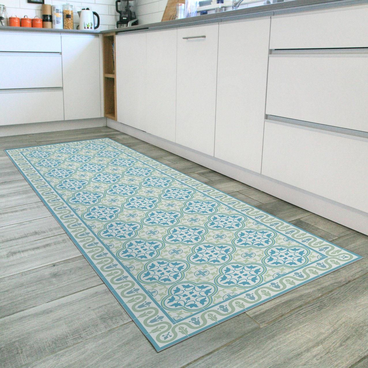 Turquoise and green runner rug with Spanish tiles design. Vintage runner  rug, printed on vinyl floor mat. Turquoise rug runner, kitchen rug.