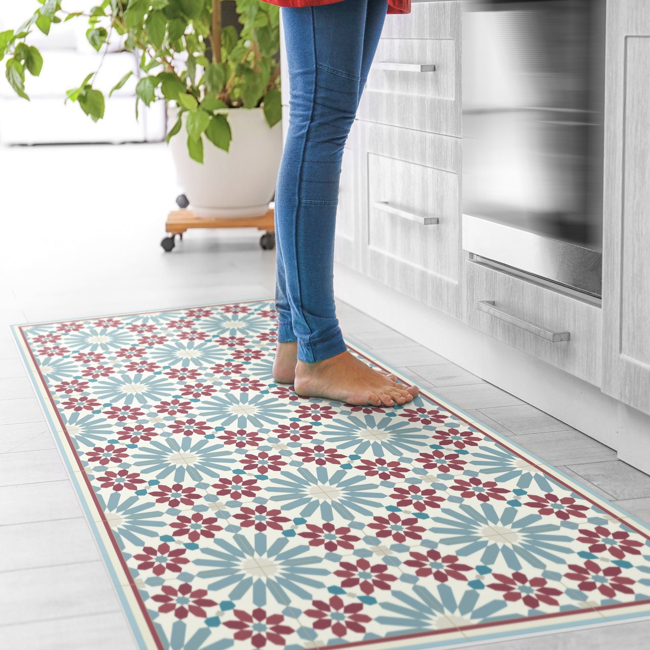 Red and blue kitchen mat. Vinyl floor mat with Moroccan tiles   Etsy