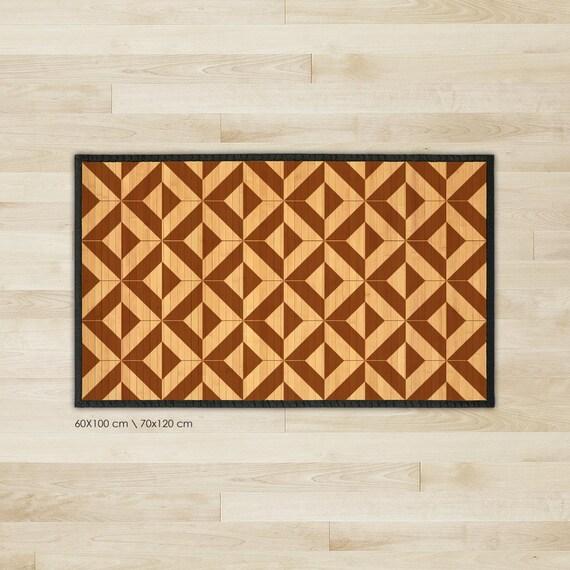 Gedruckte Bambus Teppich Bambus Teppich Holz Fliesenmuster Etsy