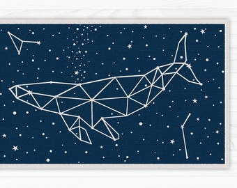 Dark blue vinyl floor mat with stars and whale constellation in dark blue. linoleum rug. Art Mat - printed carpets.