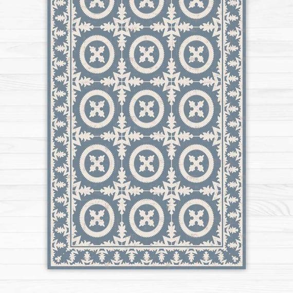 tapis de sol en vinyle avec motif carreaux d coratifs en bleu etsy. Black Bedroom Furniture Sets. Home Design Ideas