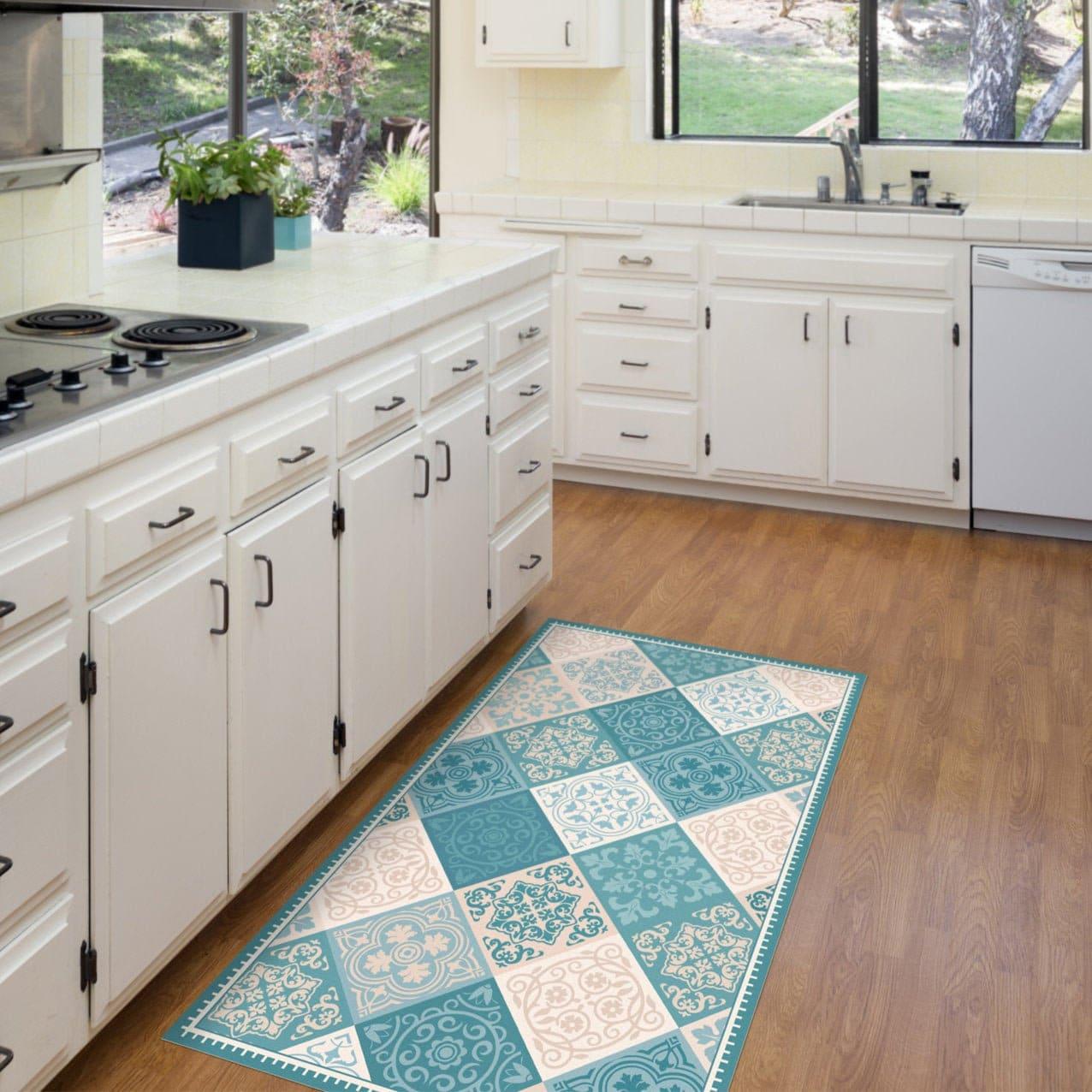 Turquoise vinyl kitchen mat. Vintage tiles design, vinyl floor mat in  turquoise and beige. Kitchen decor, kitchen rug, bath mat, door mat.