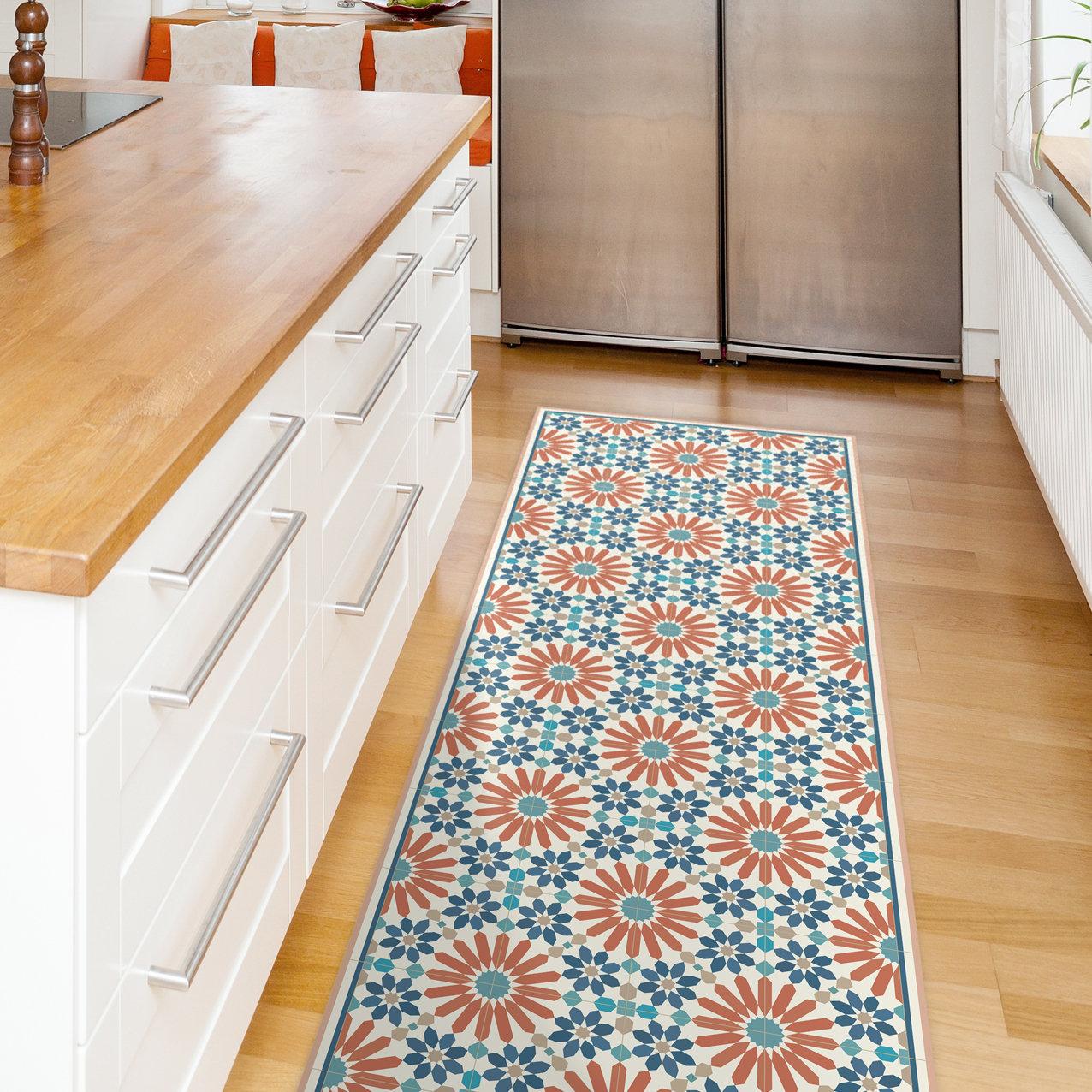 Orange and blue kitchen runner rug, printed on vinyl floor mat. Rug runner  with Moroccan tiles, kitchen runner, Orange rug, hallway runner.