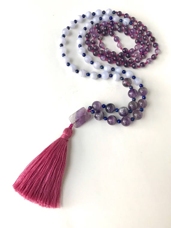 Blue Lace Agate Mala Necklace Amethyst Necklace Lapis Etsy