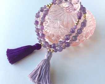Meditation Beads - Amethyst Bracelet - Yoga Jewelry - Tasbih Bracelet - Mala Bracelet - Gemstone - Tassel Bracelet - Amethyst Jewelry