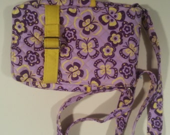 Handmade quilted purple and yellow purse