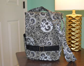 "Silver and black quilted ""Ragamuffin"" crossbody purse for iPad"