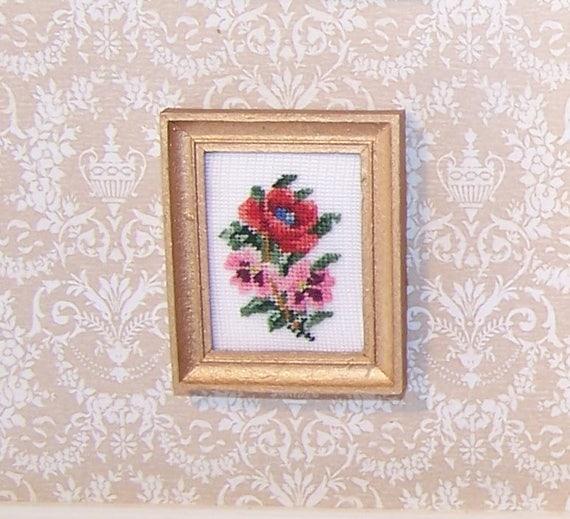 red poppy petit point puppen haus bestickt bild etsy. Black Bedroom Furniture Sets. Home Design Ideas