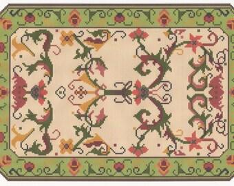 Stitching Chart for Miniature Dollhouse Rug, Regency Oriental Scrolls, PDF Instant Download, Dolls House Rug Pattern,