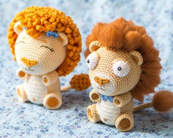 "Crochet Pattern of Lion Cubs Bobby and Lily from ""AradiyaToys Design"" (Amigurumi tutorial PDF file)"