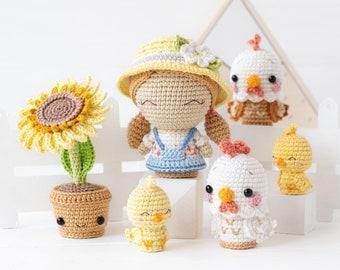 "Sunny Farm from ""Mini Kingdom"" collection / crochet patterns by AradiyaToys (Amigurumi tutorial PDF) / crochet chicken / amigurumi sunflower"