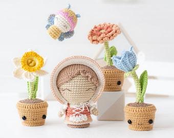 "Flower Garden from ""Mini Kingdom"" collection / crochet patterns by AradiyaToys (Amigurumi tutorial PDF file) / crochet flower / amigurumi"