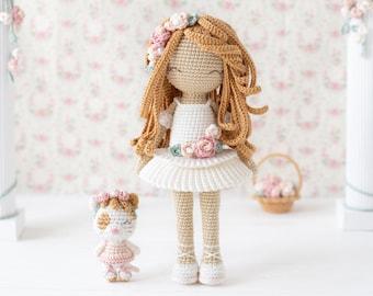 "Friendy Melanie with Graceful Kitty from ""AradiyaToys Friendies"" collection / crochet doll pattern (Amigurumi tutorial PDF file) / ballerina"