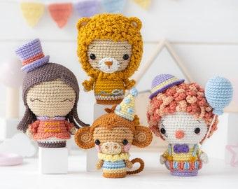 "Circus Minis from ""AradiyaToys Minis"" collection / crochet patterns by AradiyaToys (Amigurumi tutorial PDF file) / crochet circus / clown"