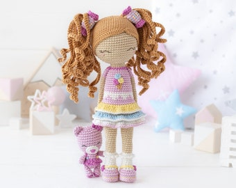 """Friendy Candy with Gummy Bear from """"AradiyaToys Friendies"""" collection / crochet doll pattern (Amigurumi tutorial PDF file), amigurumi doll"""