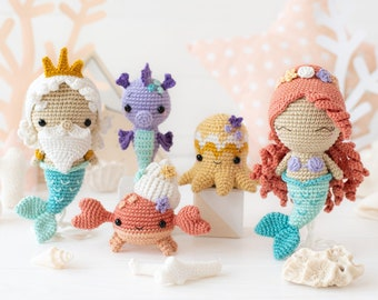 "Kawaii Ocean Minis from ""AradiyaToys Minis"" collection / crochet patterns (Amigurumi tutorial PDF file) / crochet mermaid / amigurumi triton"