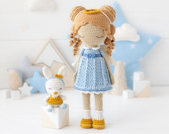 "Friendy Leah with Tiny Bunny from ""AradiyaToys Friendies"" collection / crochet doll pattern (Amigurumi tutorial PDF file), amigurumi doll"