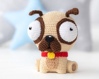 "Crochet Pattern of Pug Luis from ""AradiyaToys Design"" (Amigurumi tutorial PDF file) / cute pug crochet pattern by AradiyaToys"