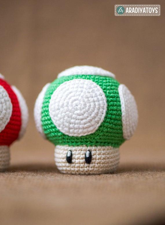 Häkelanleitung für den 1Up Pilz aus Super Mario World | Etsy