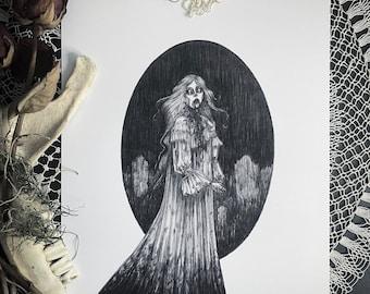 Cemetery Ghoul - Fine Art Print - Victorian Zombie - Horror - Dark Art - Gothic Illustration