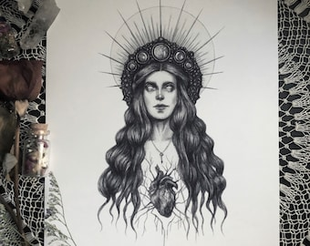 Hecate - 8x10 Fine Art Print - Greek Goddess of Witchcraft, Magic, Night, and the Moon - Magick - Dark Art - Gothic Illustration