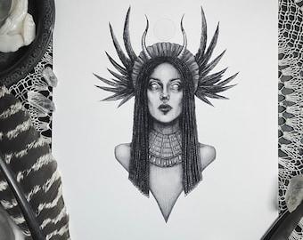 Isis - 5x7 Fine Art Print - Egyptian Goddess of Healing and Magic - Egyptian Mythology - Pagan - Dark Art - Gothic Illustration