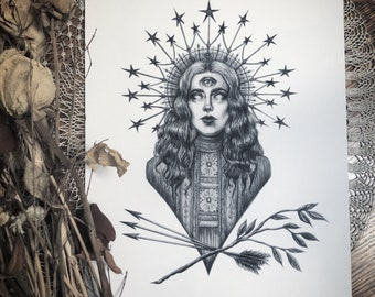 The Oracle - Fine Art Print - Third Eye - Star Crown - Halo - Victorian - Gothic - Magick - Witch Art - Illustration