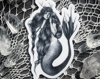 "Mermaid Queen - 3"" Die Cut Vinyl Sticker - Mermaid - Magick - Siren - Victorian - Dark Art - Illustration"