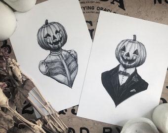 Husband & Wife Pumpkin Couple Print Set - Vintage Halloween - Victorian - Portraits - Creepy Cute - Gothic - Illustration