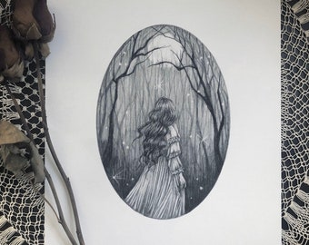 The Forest - Fine Art Print - Haunted Forest - Will o the Wisp - Victorian - Magical - Gothic - Illustration