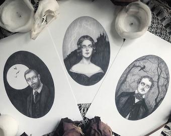Greats of Gothic Literature 3 Print Set - Mary Shelley - Edgar Allan Poe - Bram Stoker - Gothic Author Portraits - Dark Art