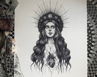 Hecate - Fine Art Print - Greek Goddess of Witchcraft, Magic, Night, and the Moon - Witchcraft - Magick - Dark Art - Gothic Illustration