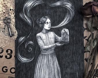 Sanctuary - Fine Art Print - Victorian Spiritualism - Ectoplasm - Seance - Miniature - Haunted - Dark Art - Illustration