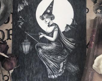 By Lantern Light - Fine Art Print - Vintage Halloween Witch - Witch Art- Bat - Full Moon - Victorian - Broomstick - Illustration